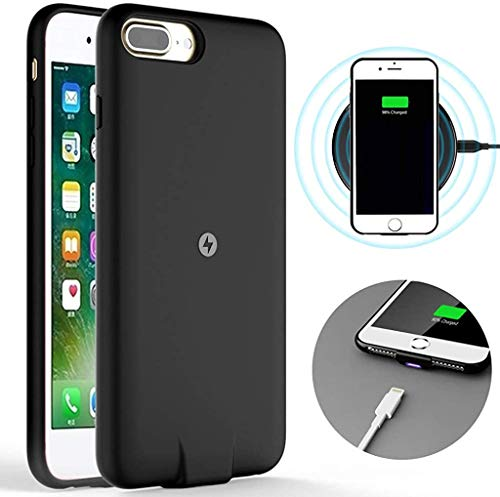 Qi Wireless Charging Reciver Case for iPhone 7/6s/6 Plus series only (Not Battery),with Cable Charging Port,Soft TPU Shockproof Protective case,Brushed Surface Finish (5.5 inch)