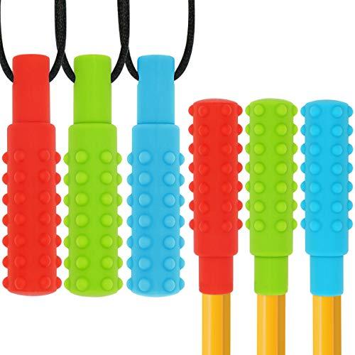Juego de collares masticables sensoriales para lápices (paquete de 6), palitos masticables de silicona, juguetes masticables de autismo para niños
