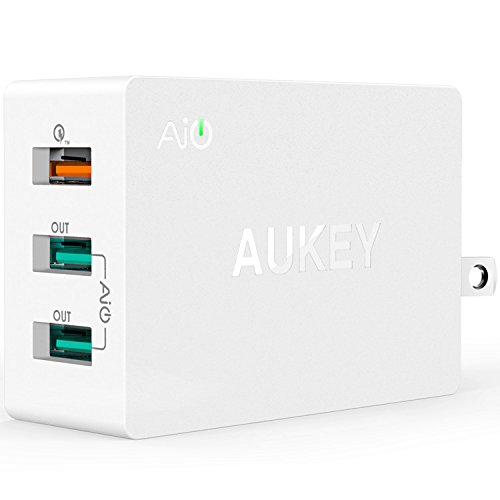 AUKEY Quick Charge 2.0 USB Wall Charger with 3-Port, AiPower and Micro-USB Cable for Samsung Galaxy Note8 / S8 /...