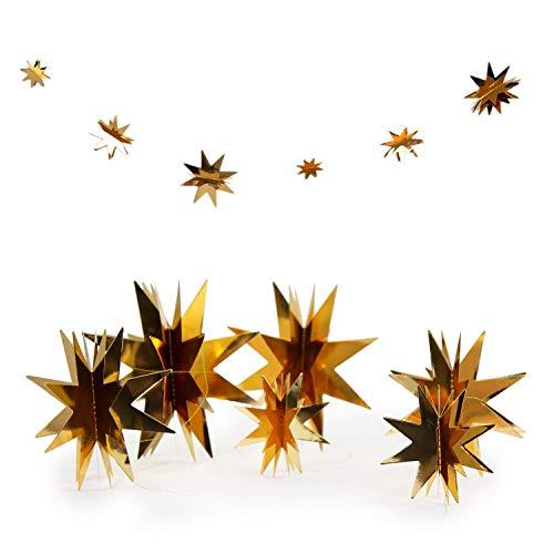 Oblique Unique® 3D Sterne Papier Girlande als Weihnachtsdeko Weihnachten Dekoration Hängedeko Gold Silber - Farbe Wählbar (Gold)