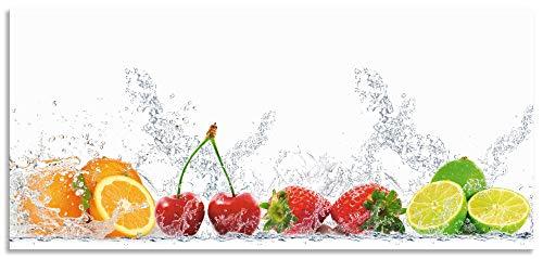 Artland Spritzschutz Küche aus Alu für Herd Spüle 110x50 cm Küchenrückwand mit Motiv Essen Obst Früchte Erbeeren Limette Orange Modern Hell Bunt S6JP