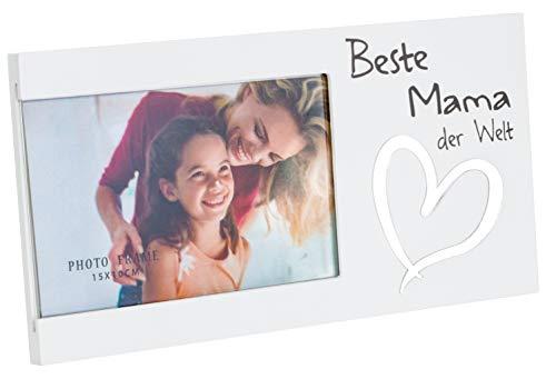 Brandsseller Bilderrahmen Fotorahmen - Beste Mama der Welt - mit Spiegelherz 25x13x1,5 cm Matt-Weiß