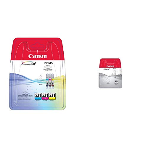 Canon CLI-521 3 Cartuchos Multipack de tinta original Cian/Magenta/Amarillo para Impresora de Inyeccion de tinta Pixma + Cartucho de tinta original Gris para Impresora de Inyeccion de tinta Pixma