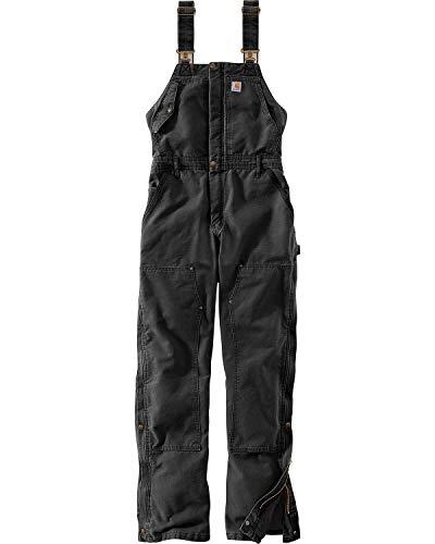 Carhartt Women's Weathered Duck Wildwood Bib Overalls (Regular and Plus Sizes), Black, X-Large
