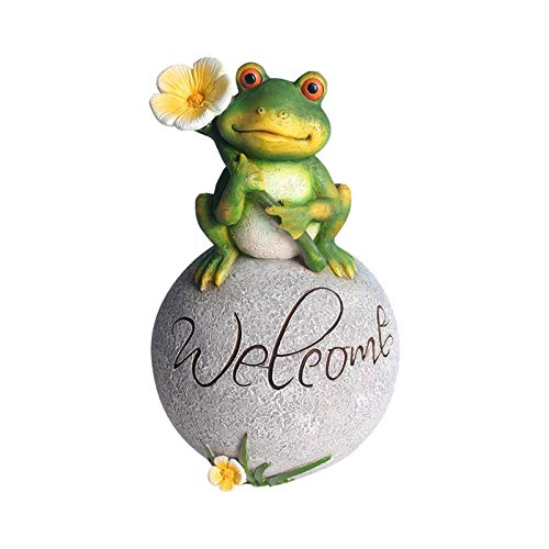 CALIDAKA Frog Statue Frog Sitting Statue Resin Frog Garden Statue Frog Statue Ornament Hand Painted Frog Figurine Welcome Frog Statue on a Rock for Yard Garden Lawn Patio Decoration