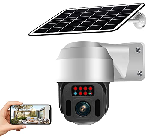 Cámara de seguridad solar inalámbrica inalámbrica WiFi, 12000mAh Batería recargable con motor, vigilancia en el hogar PTZ Cámara, Visión nocturna, Panel de carga solar 6.8W, Pir Detección humana
