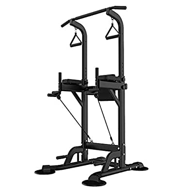 Evangelia.YM Power Tower Multi-Function Strength Training Cage Rack Dip Stands Workout Station with Pull Up Chin Up Bar, Home Gym Fitness Equipment, US Warehouse (Black)