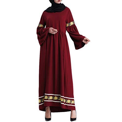 FRAUIT dames gouden kant maxi-jurk avondjurk moslim vrouwen enkellang jurk kaftan robe moslim losse grote naden trompet mouwen jurk