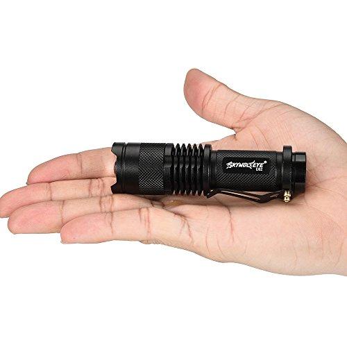 Bluestercool Lampes de poche, 5000LM Zoomable COB + Q5 LED 4 Modes 14500/AA Lampe Tactique Militaire Émergent Flashlight Lampes torches, Noir (Noir)