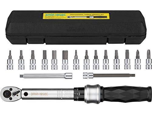 3min19sec Drehmomentschlüssel Fahrrad Set 17-TLG 1/4 Zoll - 1 bis 25 Nm - Drehmomentschlüssel Set mit Steckschlüsselsatz, Torx & Innensechskant inklusive