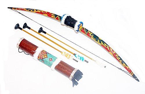 Hejoka-Shop Kinder Indianer Pfeilbogen Set Bogen 75 cm.mit HOLZKÖCHER 35 cm. und Pfeile Gummispitzen funktionsfähig Fasching Verkleidung