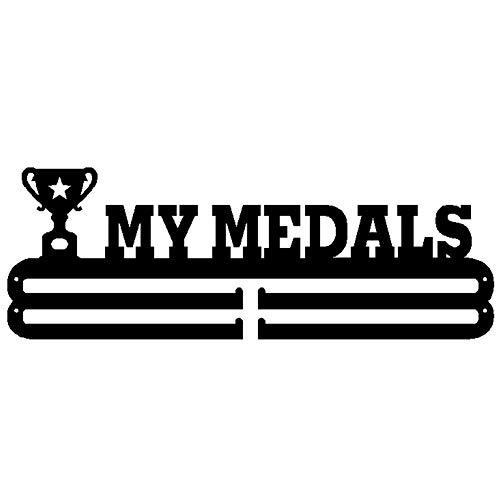 Expositor de medallas 'MY Medals', Soporte para medallas Deportivas Soporte para medallas de Montaje en Pared Metales Soporte para premios Soporte para Almacenamiento de medallas, Negro