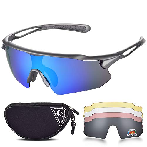 SNOWLEDGE Cycling Glasses with 5 Interchangeable Lens UV 400 Protection...