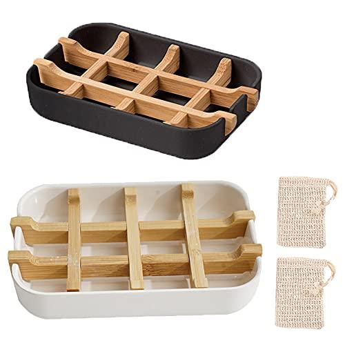 tarumedo 2 Stück Bambus Seifenschale Nachhaltig + 2 x Seifensäckchen