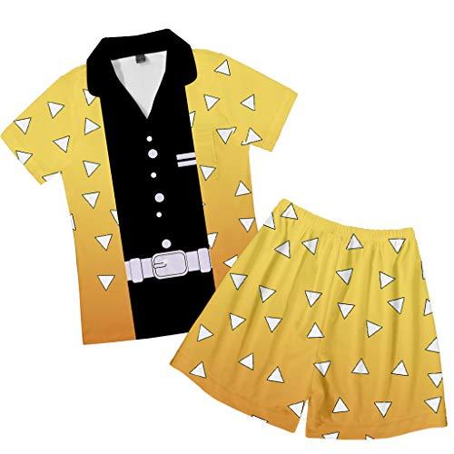 Novo conjunto de pijama de manga e short caçador de demônios Tanjirou Nezuko Giyuu Zenitsu Inosuke camisa calça para homens e mulheres, B, M