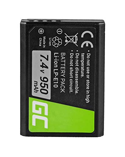 Green Cell® Batteria LP-E10 LPE10 per Canon EOS 1100D 1200D 1300D Digital Camera Kiss X50 Rebel T3 Kiss X50 X70 Rebel T3 T5 T6 Fotocamera Digitale (Li-Ion celle 950mAh 7.4V)