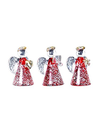 3 Engel aus Glas mit rotem Kleid und Schnee Glasengel