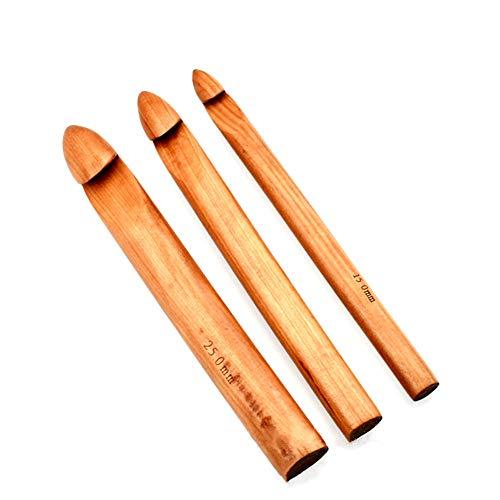 Katech Häkelnadel Set, 3 Stück Grobes Holz Bambus Häkelnadeln Set (15.0mm + 20.0mm + 25.0mm), Holz Häkelnadeln Stricknadeln Nähen Werkzeug DIY Schal Strickzubehör