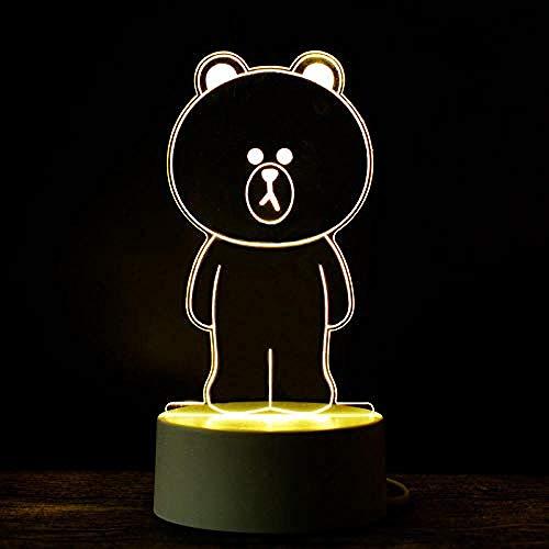 wangzj Luces de noche Luces de oso de interior Lámpara de noche Luces de habitación 3D led Lámpara de escritorio de ahorro de energía Niño regalo de cumpleaños