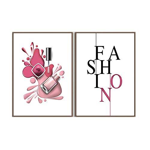 Vogue Poster Impresiones UñAs Polaco Lienzo Pintura NóRdico Pared Arte Moderno Moda Pared Cuadro Salon HabitacióN NiñA Dormitorio SalóN Decoracion 40x60cmx2 No Marco