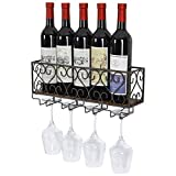 TQVAI Wall Mounted Wine Rack with 4 Glass Holder Cork Storage Home Kitchen Décor - Brown