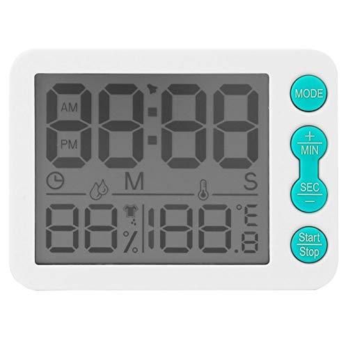 Medidor de humedad de temperatura del reloj multifuncional para la oficina en casa (clave verde de la cáscara blanca)