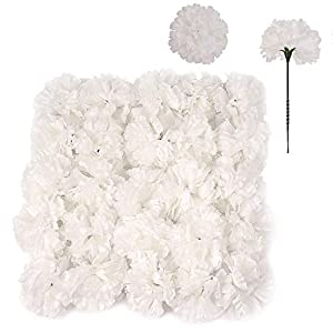 100 White Silk Carnation Picks, Artificial Flower Heads for Weddings, Decorations, DIY Decor, Bulk Carnations, 3.5″ Carnation Heads with Unattached 5″ Stems