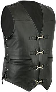 Bikers Gear Australia Men's Heavy Duty Premium Leather Motorcycle Vest with Metal Clips Black