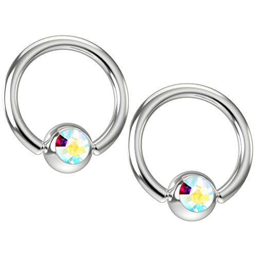 2 x 1.2mm Aurora Borealis Kristall Chirurgenstahl 316L Piercing Klemmkugelring Ohr Captive Bead Ring Schmuck