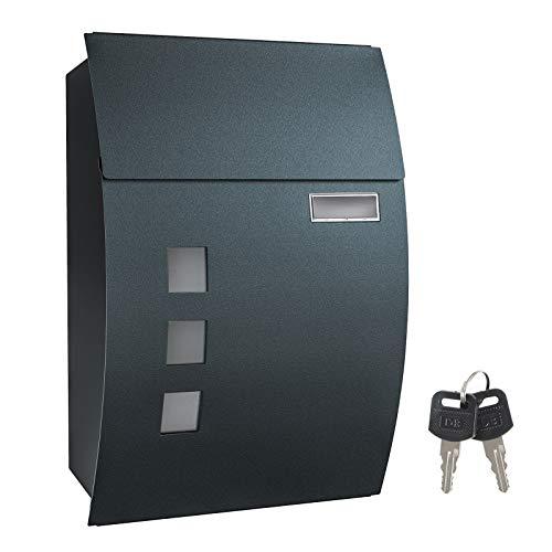 SONGMICS Briefkasten, Wandbriefkasten, abschließbar, mit Sichtfenstern, Namensschild-Halter und Schlüsseln, einfache Montage, anthrazit GMB030G02