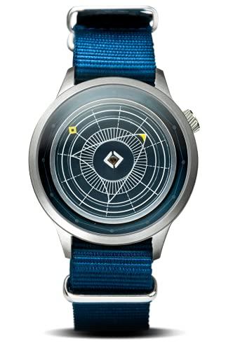 Trinity Time Reloj Altas Series reloj de caja de plata cepillada con correa de nylon azul marino