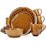 Stone Lain Porcelain Dinnerware Set, Service For 4, Brown