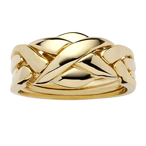 Palm Beach Jewelry 14K Yellow Gold Plated Braided Interlocking Puzzle Ring Size 8