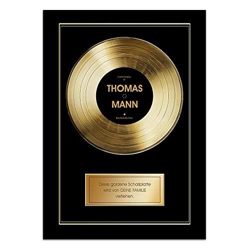 CADEAUX.COM Goldene Schallplatte personalisiert mit Vornamen - Personalisiertes Poster 31 x 46 cm, Wanddeko - mit dunklem Bilderrahmen verkauft - Für Musik-Fans