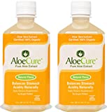AloeCure Pure Aloe Vera Juice for Bouts of Acid Reflux, Heartburn, & IBS, Instant Relief, 100% Organic Syrup, Immunity Booster, Digestive Health Supplement, Natural Flavor, 2 Bottles, 16.7 Servings
