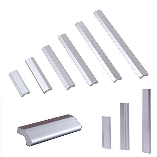Angela-homestyle Aluminum DIY Möbelgriffe Möbelknopf Möbelgriff Schrankgriff Schubladengriff Küchengriff Griffe (Silber, 128mm)