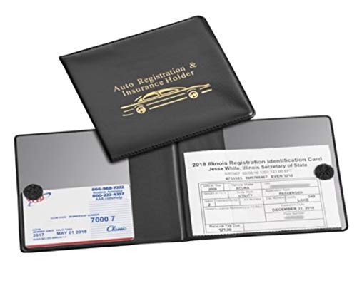 Must-Have Car Registration Wallet, Black Auto Document Wallet Holders 2 Pack- {Sale-2 Pack}- Automobile, Truck, Motorcycle, Trailer & R. Vinyl ID Holders & Visor, Glove Box Storage.