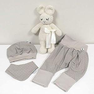 ANGEBOT Set – Hose, Mütze, Halstuch – Beige kleine Punkte (Sand) Baby Mädchen Junge