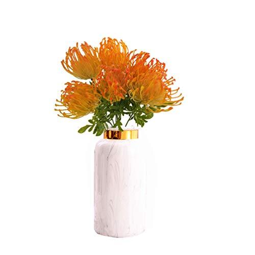 Mynse 6 Stück künstliche Nadelkissen Blume Kunststoff Protea Blumen für Zuhause Hochzeit Wohnzimmer Dekoration (Oragne)