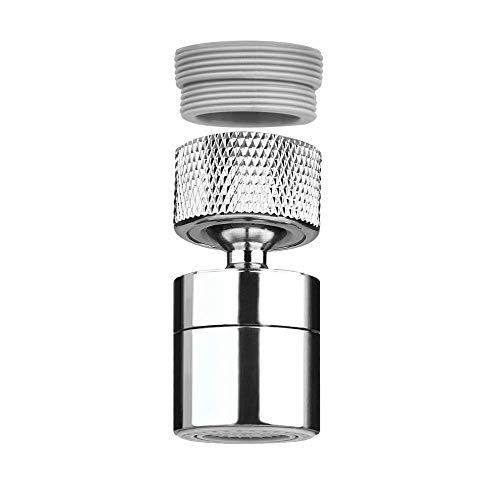 KWODE Kitchen Sink Faucet Aerator, Dual-Function 360-Degree Swivel Big Angle Rotate Water Saving Sprayer Kitchen Faucet Head Attachment Female Thread with Male Thread Adapter