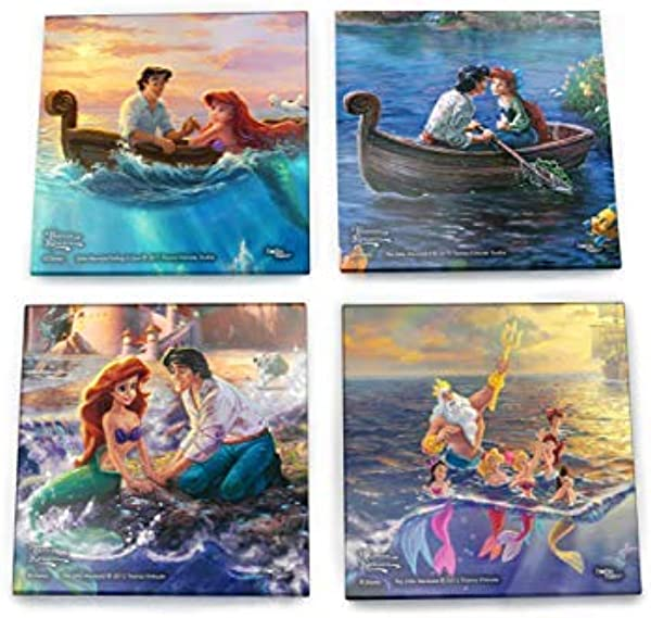 Disney Little Mermaid Glass Coaster Set Ariel And Eric Kiss The Girl Comes With Stylish Wooden Holder