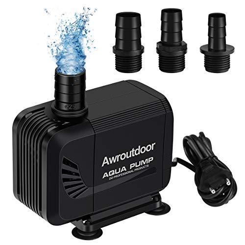 Awroutdoor Bomba de Agua, 35W 2500 L/H Mini Bomba de Agua se Puede Usar en Tierra y en Agua, Silencioso Bomba de Acuariocon 3 Boquillas para Estanque,Pecera Fuente, Circulación de Agua