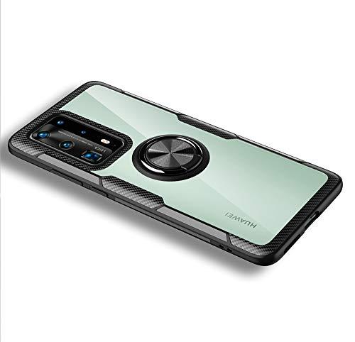 LAGUI Compatível para Huawei P40 PRO Capa, Estojo transparente com suporte para anel Indicado para suportes magnéticos para carros, preto