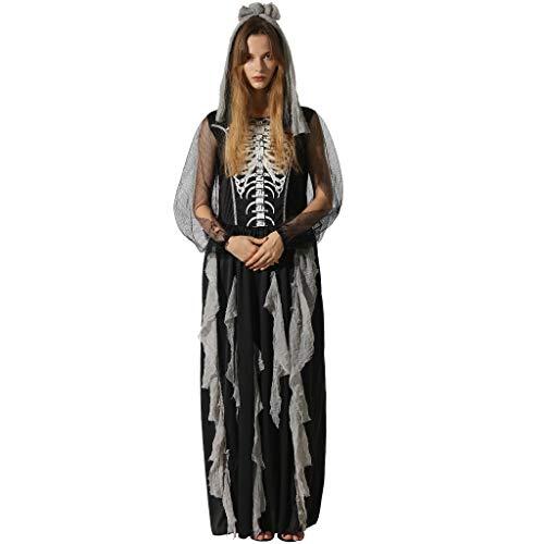 EraSooky Mujer Esqueleto Novia Zombie Disfraces Halloween Cosplay Fancy Party Dress con Hair Band