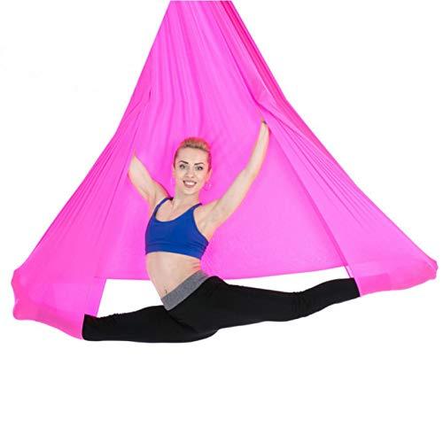EVTSCAN Hamaca de Yoga aérea 2.8x1m/9.2x3.3ft Accesorio de Entrenamiento físico de oscilación de inversión de Yoga elástico Duradero(Rosa)