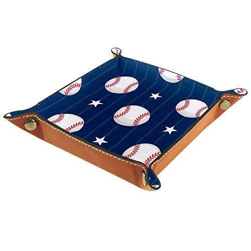 AITAI Bandeja de valet de piel vegana para mesita de noche, organizador de escritorio, plato de almacenamiento Catchall deportivo, estrella de béisbol, rayas azul real