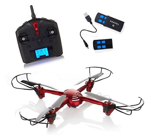 Propel HD Video Drone with 500' Flight Range, 360 Aerial Stunts, Auto Land, Altitude Stabilization, MicroSD Card- Red