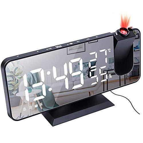 IWILCS Projektionswecker, Radiowecker mit Projektion, Digitaler Wecker Dual-Alarm, FM Radiowecker 180° Dreh-Projektor 4 Display-Helligkeit (weiß) Snooze und 12/24H