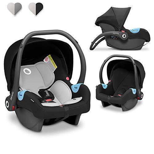 Lionelo Astrid silla de coche desde 0 hasta 13 kg protección lateral cinturón de seguridad de 3-puntos cojín lumbar reductor Dri-seat estructura ligera (Negro)