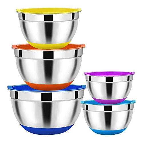 Newthinking Mixing Bowl with Lids Set, 5 Piece Stainless Steel Salad Mixing Bowl, Nesting Salad Bowls with Non-Slip Colorful Silicone Bottom for Kitchen Cooking, Baking